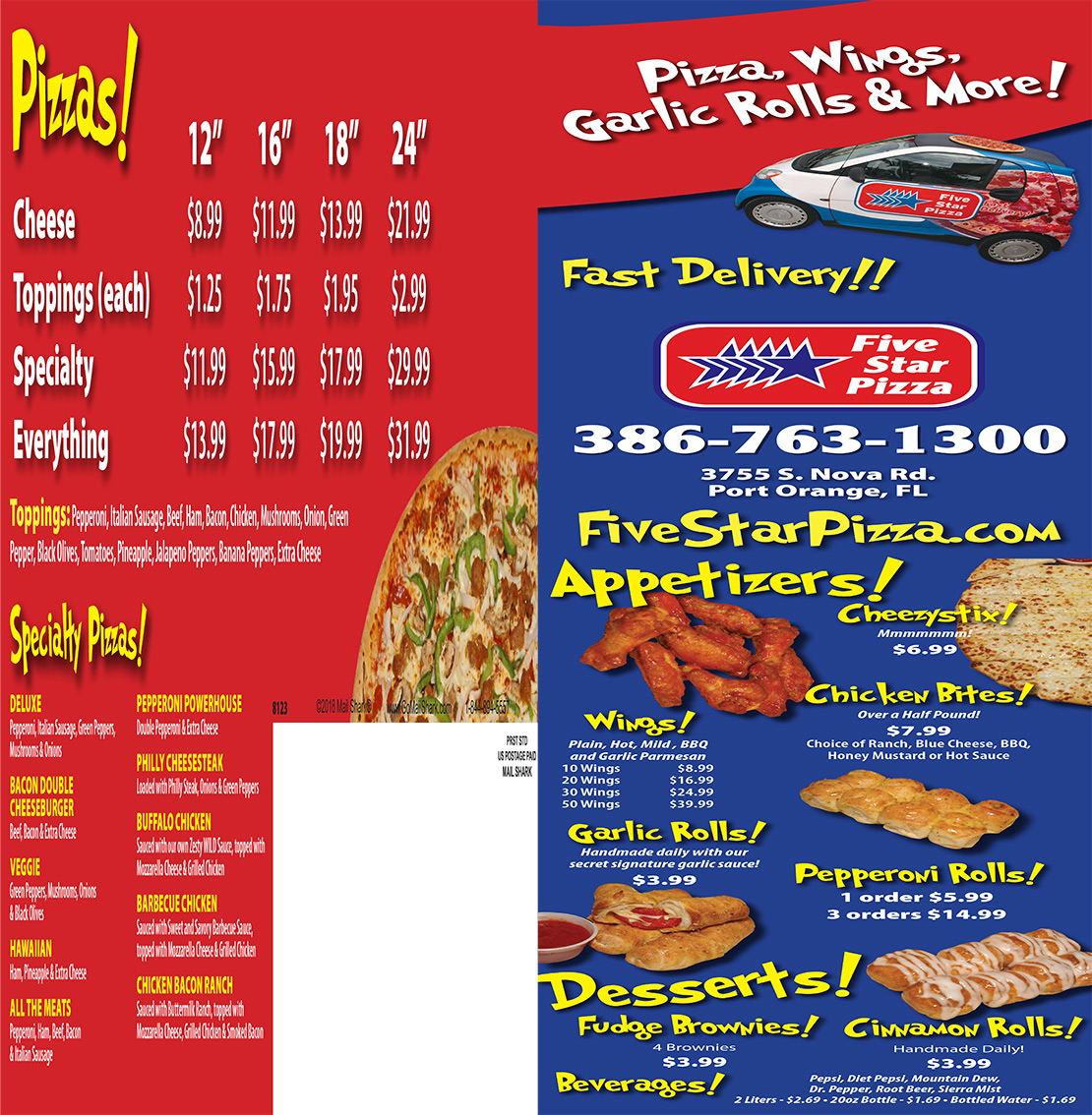 Pizza Delivery And Pizza Takeaway For Port Orange Fl Five Star Pizza