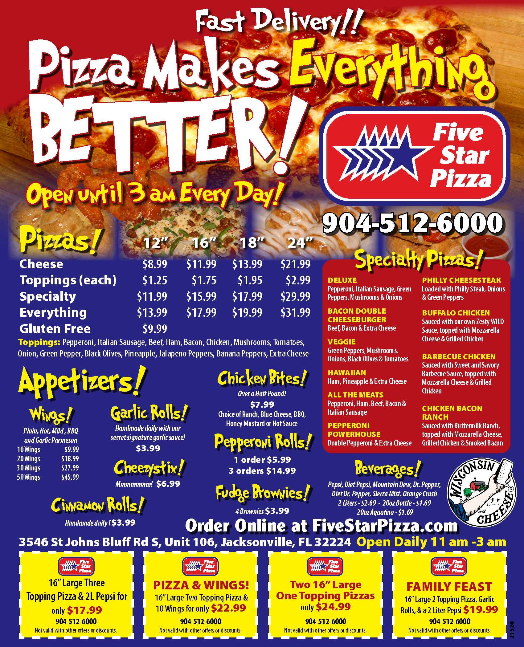Five Star Pizza - UNF Town Center Menu