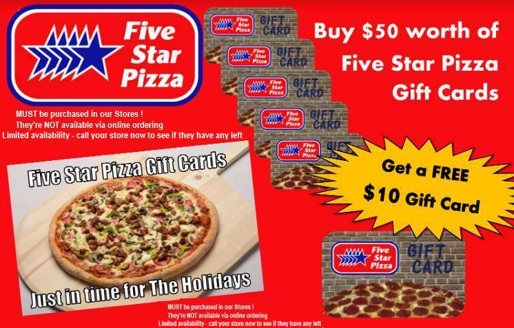Five Star Pizza Gift Cards3