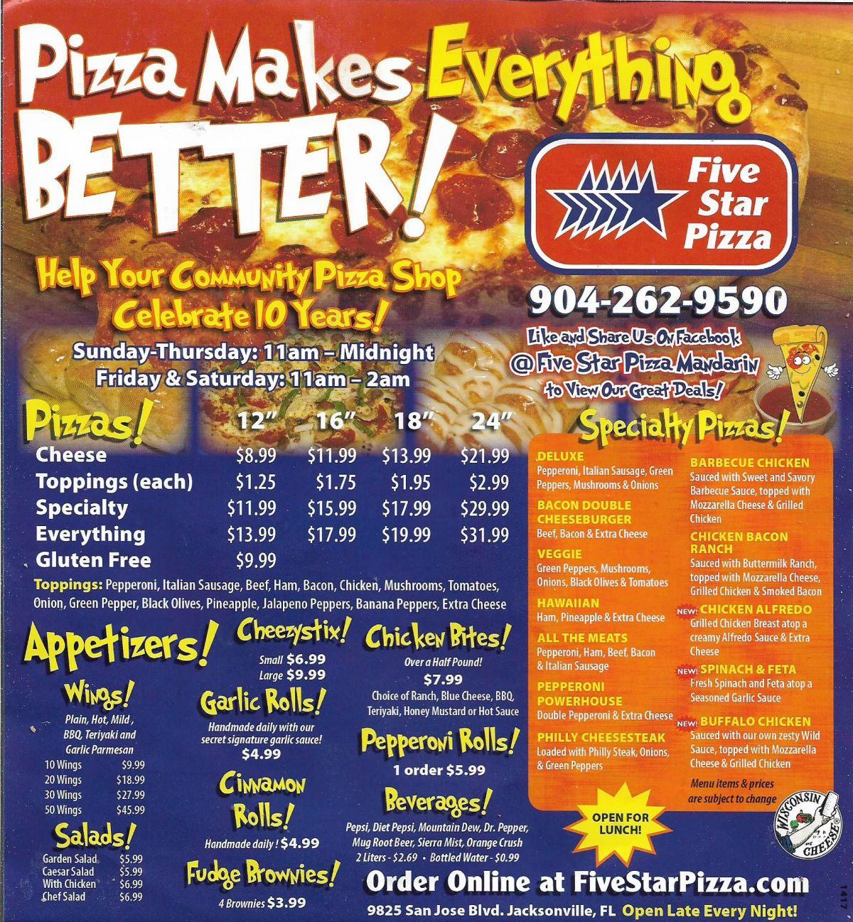 FiveStar Pizza Mandarin FL